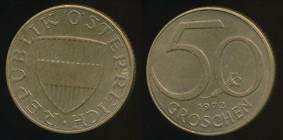 Austria, Republic, 1972 50 Groschen - Uncirculated