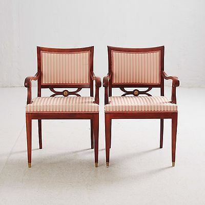 Antique empire style hardwood  two armchairs and table  1900s