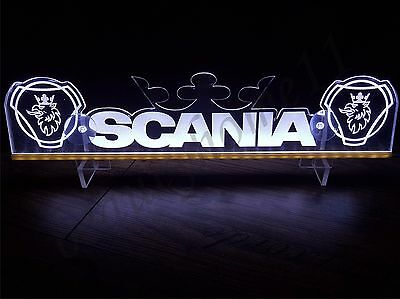 24 Volts SCANIA With 2 LOGOS AND CROWN ENGRAVED WHITE ILLUMINATING PLATE 24V/5W.