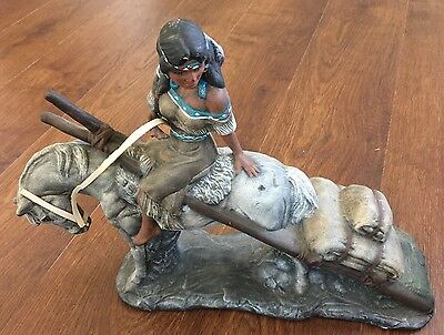 Native American Girl On Horse Collectible Indian Sculpture Figurine
