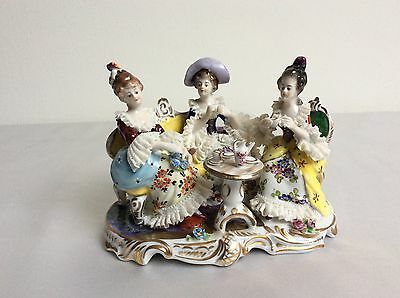 Lovely dresden china volkstedt teaparty girls porcelain figurine Mint