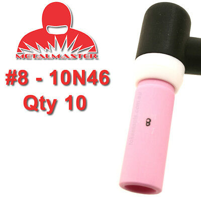 10 Pack 10N46 #8 Tig Torch Nozzle Alumina Cup Gas Shield Shroud