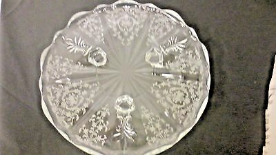 "Older Fostoria Navarre Etched 3-Toed 8"" Serving Plate-Clear Scallop Edge"