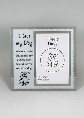 I Love my -DOG CAT mirror glass photo frame,  pet memorial, GLASS NEW GIFT