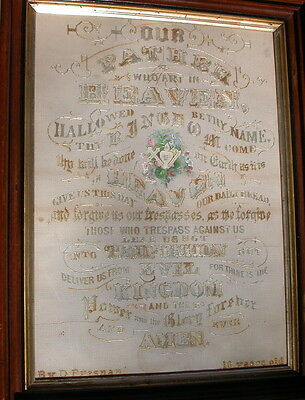 Glory to GOD! Amazing 19th C sampler needlepoint The LORD'S PRAYER by 10-Y. O. !