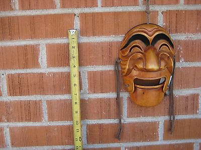 "Vintage 8"" x 6"" Korean Style Hand Carved Wooden Mask KOREA"