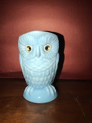 ANTIQUE MILK GLASS Lt. Blue OWL Embossed CREAMER small PITCHER 3.5""