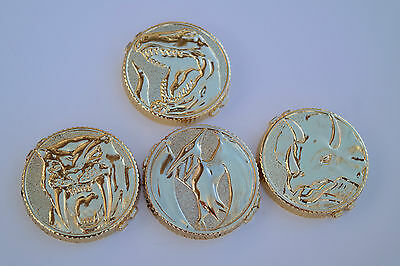 Power Gold Coins Dino 1993 T-rex with 3 other Ranger Prop Morpher coins Flawed