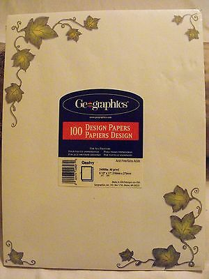 Geographics Grape Leaves Design Paper For All Printers 100 sheet count Acid Free
