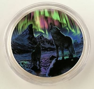 2016 Canada 2oz $30 Fine Silver Coin- NORTHERN LIGHTS IN THE MOONLIGHT