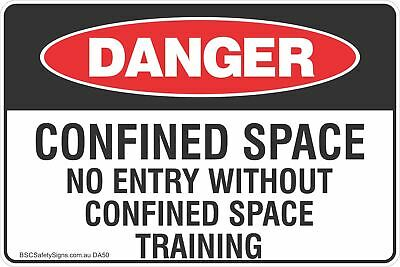 Confined Space No Entry Without Confined Space Training Safety Sign