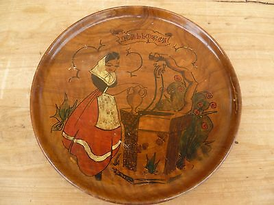 Vintage Old Drinking Well Pokerwork Dish, Old Timber Ware Platter (E50)
