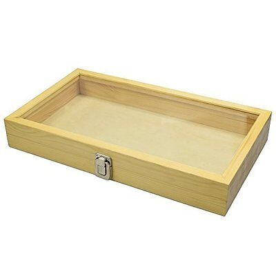 Mooca Large Natural Wood TEMPERED Glass Top Lid Metal Clip Jewelry Display Case,