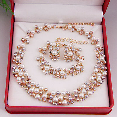 African Jewelry Set Pearl Crystal Gold Plated Necklace Bracelet Earrings Jewelry