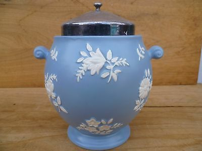 Vintage Old Large Size Blue & White Pottery Biscuit Barrel, Canister (E64)