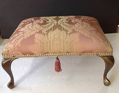 Mid Century HOLLYWOOD REGENCY Silk Fabric Brass Leg Vanity Bench/Ottoman Gorgeo