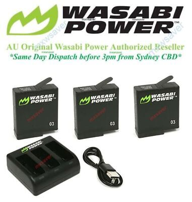 Wasabi Power v03 Battery(1220mAh) x 3 & Triple USB Charger for GoPro HERO5 Black