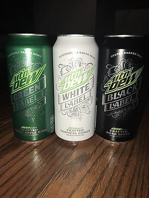 Mountain Dew White, Green and Black Label 16oz Cans