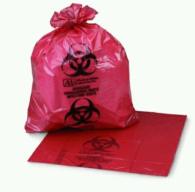 "Medi-Pak Ultra-Tuff Red Infectious Waste Bags, 24x24"", 7-10 Gal, Case of 250"