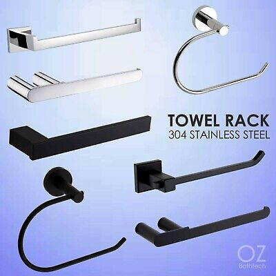 Stainless Steel Wall Mounted Hand Towel Rack Rail Robe Hook Hanger Black/Chrome
