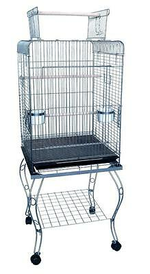 "YML 20"" Open Top Parrot Cage w/Stand In Antique Silver 600HAS Cage NEW"