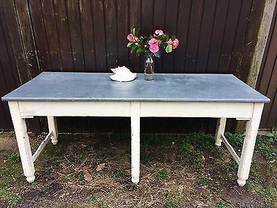 antique french zinc-topped pharmacy table