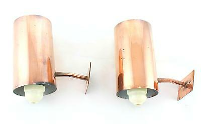A pair of modernist copper wall lights Architectural Midcentury uplighters