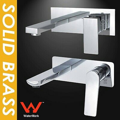 WaterMark Square Wall Bath Water Spout Basin Mixer Tap Chrome Outlet Faucet