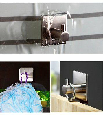 304 Stainless Steel Self Adhesive Single Hook Key Towel Hanger Bathroom Kitchen