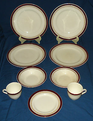 Alfred Meakin part Dinner Set - 9 Pieces - MEA320 (Burgundy with Gold Filigree)