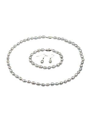 6-7mm Grey Natural Freshwater Pearl Necklace, Bracelet Set With FREE Earrings