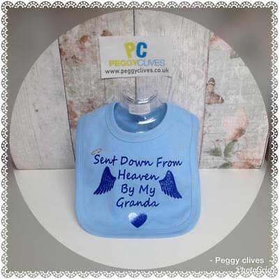 peggys personalised sent down form heaven by my___ with halo baby grow vest bib