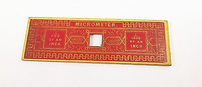 Antique Victorian micrometer microscope slide red paper 1/100 1/1000 inch