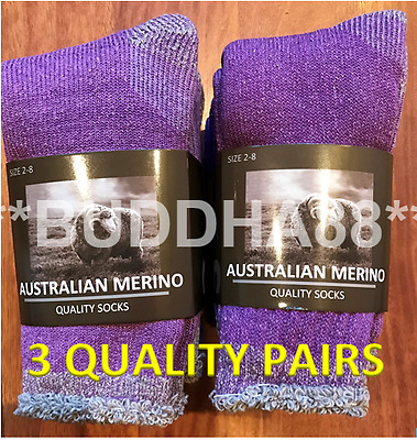 "3-Pairs Heavyduty Womens ""Purple"" Australian Merino Extra Thick Wool Work Sock"