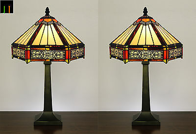Pair - JT Tiffany Six-Sided Vintage Stained Glass Table Bedside Lamp Leadlight