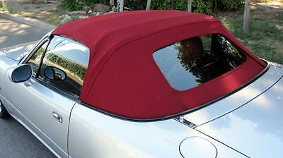 Mazda Mx5 MK2 Soft Top Burgundy Mohair Hood with Glass Window