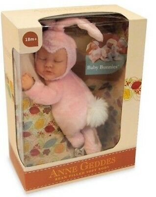 ANNE GEDDES Bean Filled Soft Baby Bunny Doll Pink - New in Box