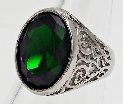 Men Ring Emerald Stainless Steel Silver Heart Filigree Medieval Carved Size 11
