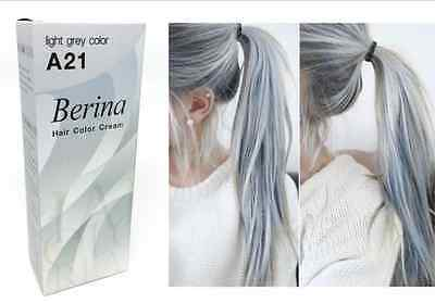 A21 x 2 LIGHT GREY SILVER PERMANENT HAIR DYE COLOR CREAM BERINA PUNK STYLE