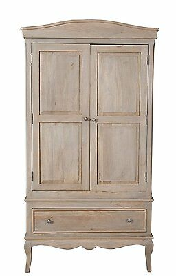 Loire French Grey Solid Mango Wood 2 Door Double Wardrobe / Part Assembled