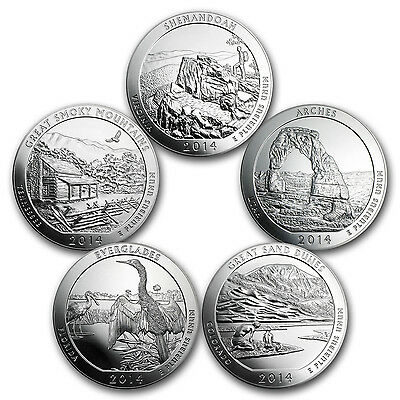 2014 5-Coin 5 oz Silver America the Beautiful Set - SKU #98455