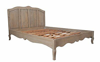 "Loire French Grey Solid Mango Wood 4' 6"" Double Bed Frame Only / Part Assembled"