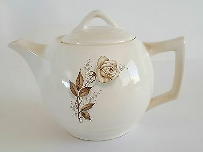 McCoy Pottery Teapot White with Brown Rose Decal Vintage Floral 7""