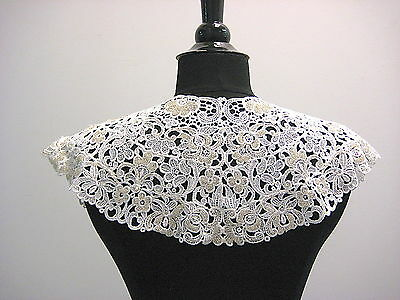 Vintage 1970's Beaded White Guipure Lace Collar