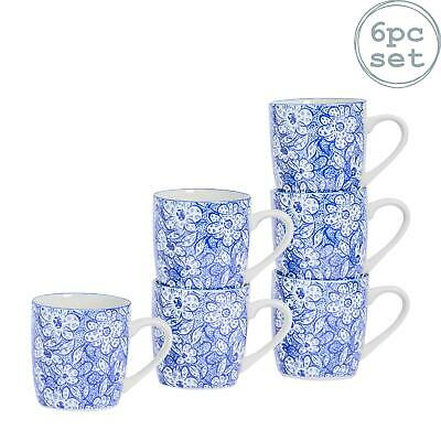 Patterned Porcelain Tea Coffee Mug, Restaurant Cups - Blue / White - 280ml - x6