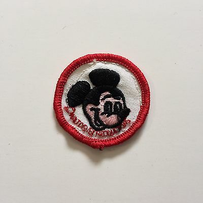Vintage Patch Mickey Mouse Red White Black