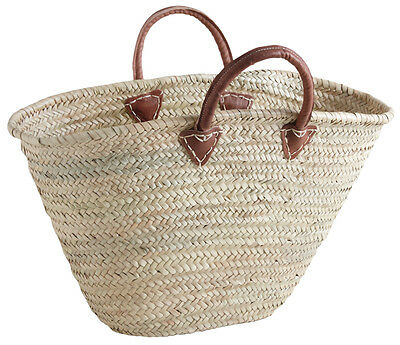 Large French Market Shopping Basket Woven Palm Leather Handles Chic Storage Bag