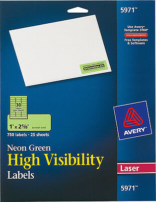 Avery High Visibility 1 x 2 5/8 Inch Fluorescent Green Labels 750 Pack 5971