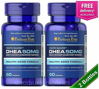 Puritan's Pride DHEA 50 mg 50 Tablets (2 PACK) Building Muscle Burning Fat