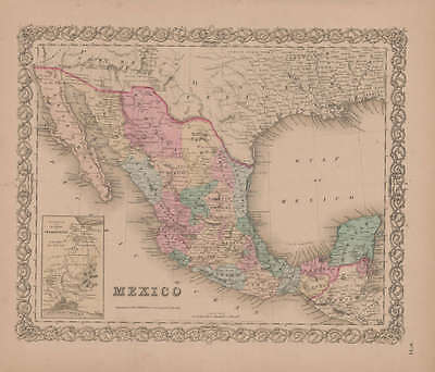 Mexico Vintage Map Authentic Mexican Wall Decor History Gift Idea GW Colton 1855
